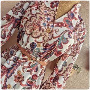 1970's vtg Pykettes paisley button up blouse